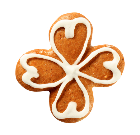 quarterfoil: Gingerbread cookie decorated with sugar icing - studio