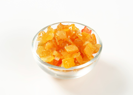 candied: Bowl of candied citrus peel Stock Photo
