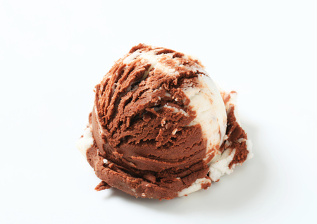 ice cream scoop: Scoop of vanilla chocolate ice cream