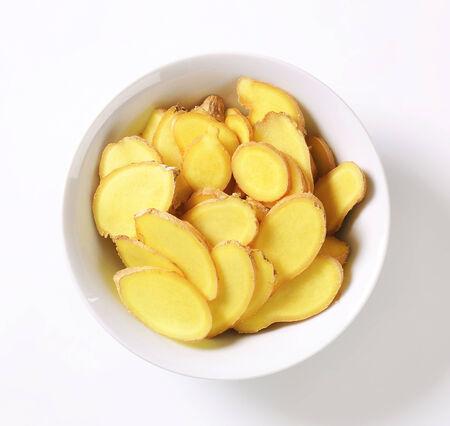 fresh ginger: Fresh ginger root - thinly sliced