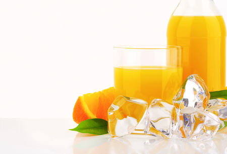 Fresh orange juice and ice photo