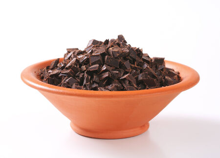 semisweet: Bowl of dark chocolate chunks