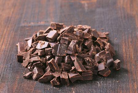 semisweet: Pile of dark chocolate chunks Stock Photo