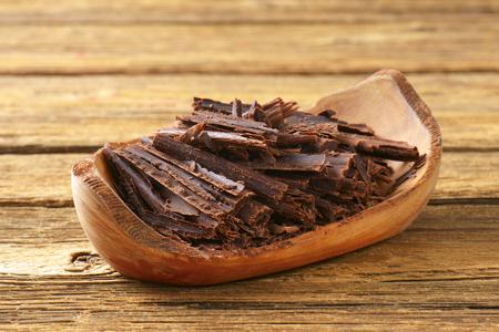 chocolate shavings: Chocolate shavings in natural edge bowl