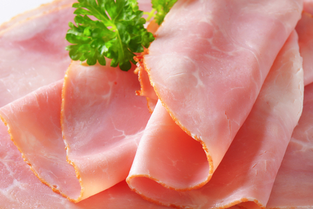 Thin slices of baked ham Stockfoto