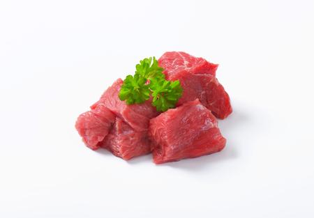 Raw beef cut into cubes Zdjęcie Seryjne