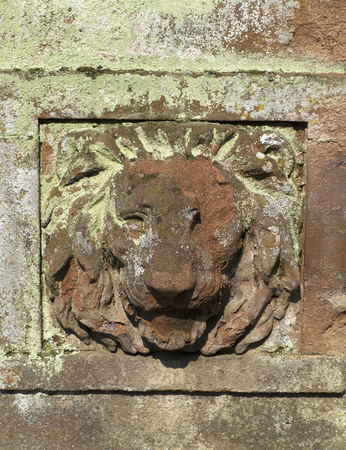 Relief of a lions head on old stone wall photo