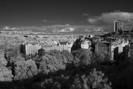 Infrared view of Nusle residential area with Nusle Bridge above it