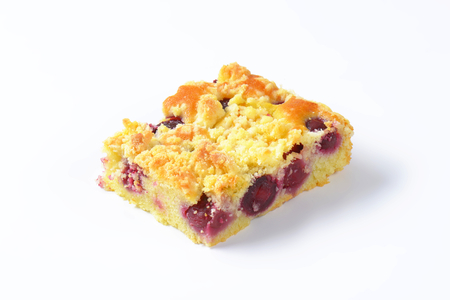 sour cherry: Sour cherry crumb bar on white background Stock Photo