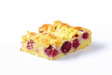 cherry pie: Sour cherry crumb bar on white background Stock Photo