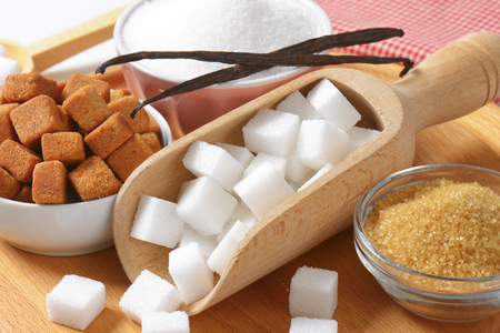 Still life of various types of sugar photo