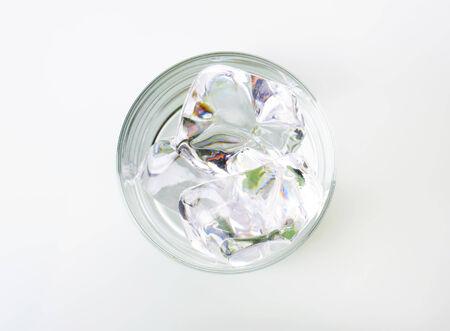 tumbler glass: Ice in a tumbler glass