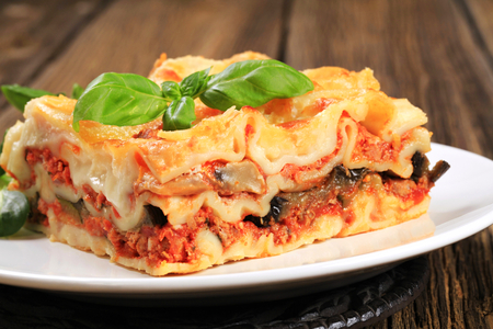 Portion of tasty lasagna on a plate Standard-Bild