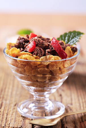 cornflakes: Bowl of cornflakes and chocolate granola