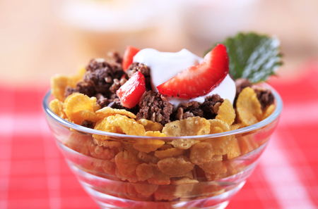 cornflakes: Cornflakes and chocolate granola with sour cream
