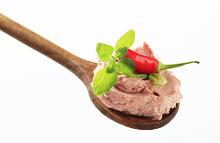 canard: Liver pate on a wooden spoon