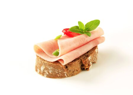 brown bread: Thin-sliced ham on brown bread
