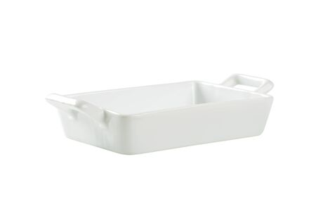 Porcelain lasagna pan with handles  isolated on white photo