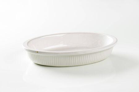 bakeware: Empty deep oval porcelain baking dish