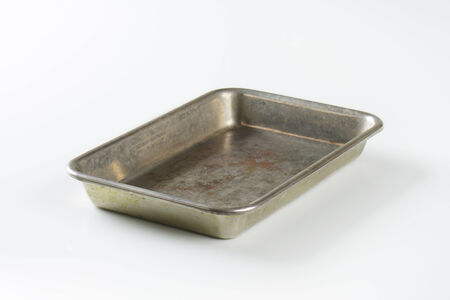 roasting pan: Used roasting pan - no handles Stock Photo