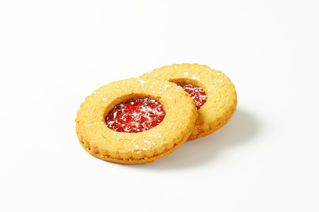 red currant: Shortbread cookies filled with red currant preserve called Linzer Eyes