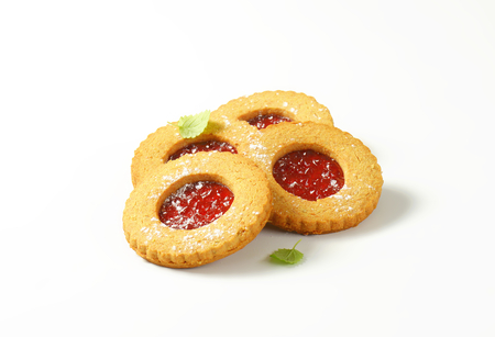 Round Linzer cookies made from whole wheat flour photo