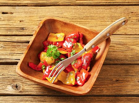 sweet peppers: Roasted sweet peppers marinated in oil Stock Photo