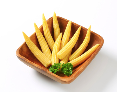 baby corn: Dish of pickled baby corn cobs