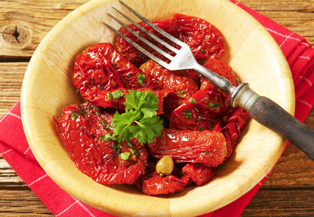 sun dried: Marinated sun dried tomatoes and sweet peppers