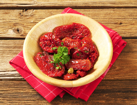 sweet peppers: Marinated sun dried tomatoes and sweet peppers