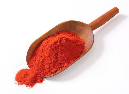 wooden scoop: Heap of paprika powder on a wooden scoop