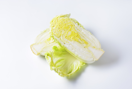 napa: Head of fresh napa cabbage cut into halves
