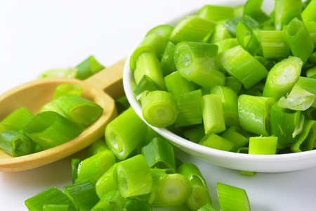 chopped: Bowl of chopped spring onions