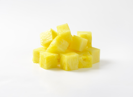Pile of fresh pineapple cubes Archivio Fotografico