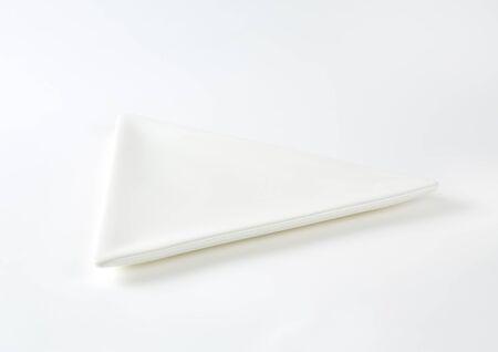 dessert plate: Small triangle plain white appetizer or dessert plate
