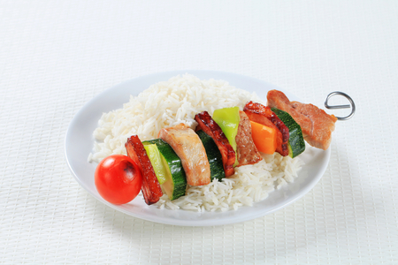 the shish kebab: Shish kebab with white rice Stock Photo