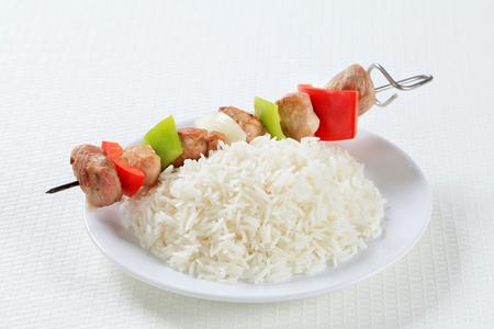 shish: Shish kebab with white rice Stock Photo