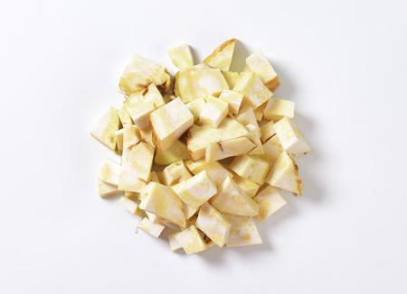 apium graveolens: Heap of diced celery root