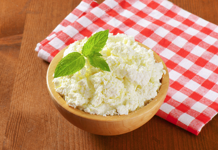 curd: Bowl of white curd cheese
