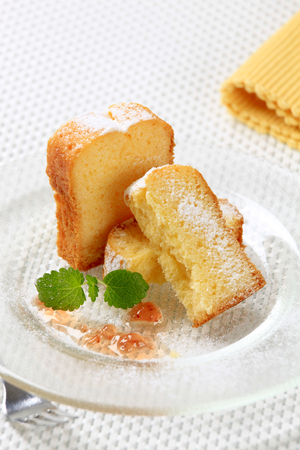 quick snack: Slices of pound cake on plate Stock Photo