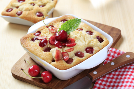 crumb: Cherry sponge cake with crumb topping Stock Photo