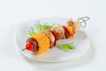 sweetcorn: Chicken skewer with sausage and sweetcorn