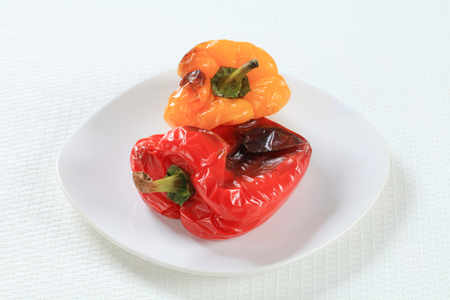 bellpepper: Roasted red and yellow bell peppers Stock Photo