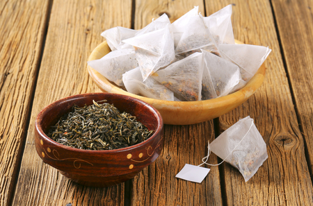 Jasmine Green Tea in pyramid tea bags Banco de Imagens