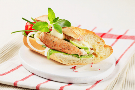 sub sandwich: Grilled pork and vegetable sub sandwich Stock Photo