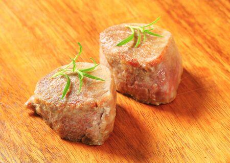 seared: Two pan seared pork medallions