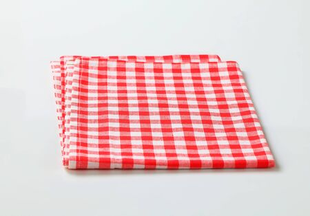 table linen: Red and white checked table linen Stock Photo
