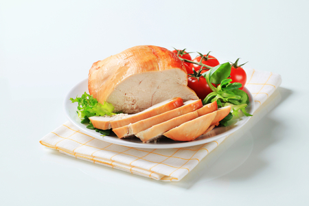 Sliced roast skinless turkey breast