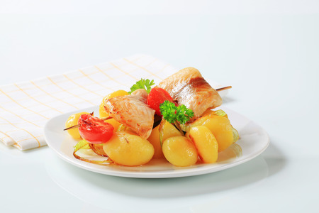 skewer: Fish skewer with boiled potatoes