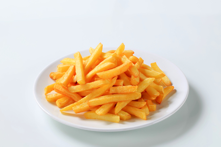 french fries plate: Serving of French fries on a plate